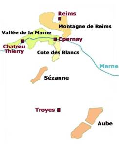 Map showing the five regions of Champagne country.