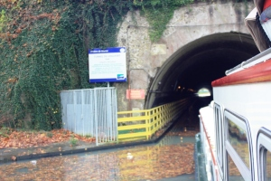 The tunnel de Chalifert and what were now becoming a problem; leaves that blocked our water intake.
