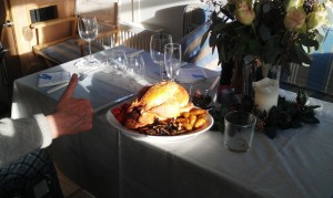 Thumbs up (gues whose) for the Poularde (chicken): our Christmas lunch for two.