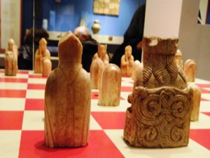 Lewis Chessmen, red and white (not black and white).