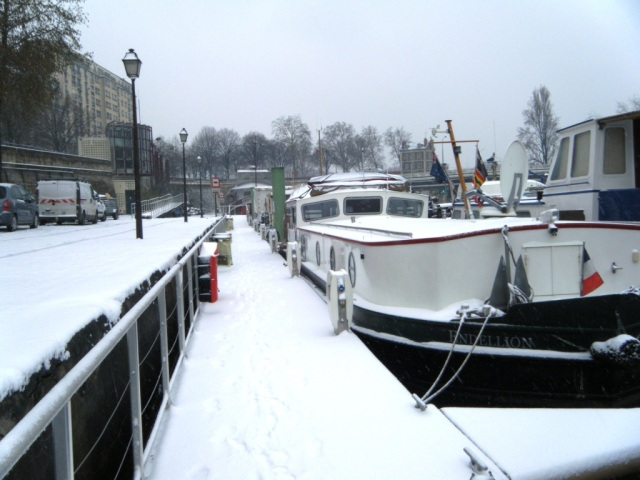 Endellion moored at the Arsenal - more snow.