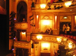 Good seats, waiting for curtains up at the Gielgud Theatre.