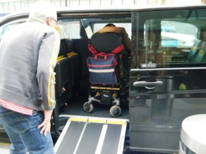 The new Mercedes London taxis have problems (for wheelchair users) - not enough head space; Not a patch on the Black Cabs.