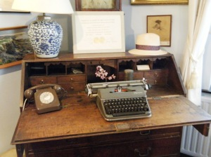 Sir John Betjeman's desk and typewriter at the museum in Wadebridge.