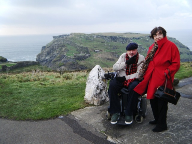 Stewart and mum (Joan) at Tintagel, behind them the ruins of King Arthur's Castle.