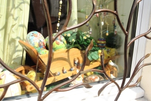 A delightful Easter themed window dressing in the village of Moret.