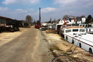 Endellion moored on the banks at the Rousseau boatyard .. waiting.