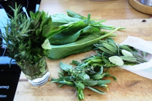 From the Capitainerie garden I picked rosemary, oregano, lemon thyme, tarragon, chives, mint, spinach and there was more.