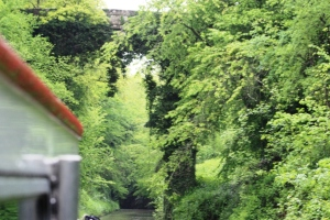 A viaduct way up high, a very narrow cutting tricky for boat handling but 'never to be missed'.