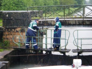 Day after day the lock-keepers stay positive in the pouring rain.