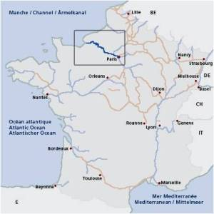 Waterways map of France, highlighting the Seine Paris to Le Havre.