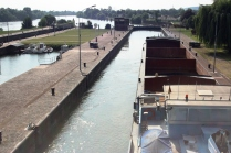 Two huge locks at Amfreville into the tidal section of the river Seine.