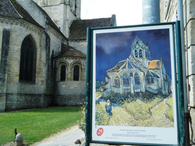 At the Auvers church painted by Van Gogh - one of the paintings we saw at d'Orsay in Paris.