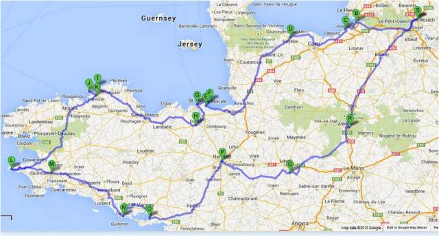 Google map showing our route from Rouen.