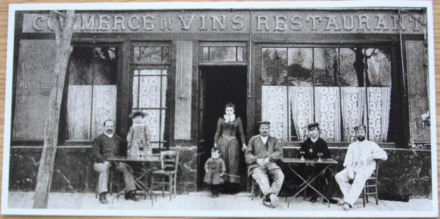 Our photo of a postcard of the Commerce de Vins restauraunt, 1890.