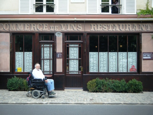 Stewart outside the restaurant which is part of the Auberge Ravoux.