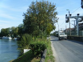 The rough and dangerous road from our mooring (tucked down below on the left) to the town.