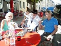 Felicity, Stewart and Jonney at Les Cornichons, Reims