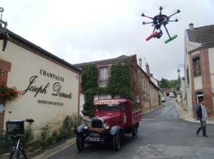 Remote controlled aerial device for video making, at Hautvillers.