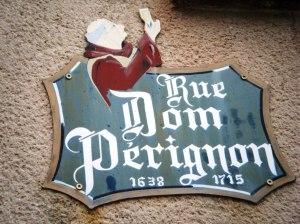 Dom Perignon street signage at Hautvillers.