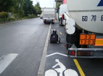In Epernay town the cycle path shares the footpath, but the trucks take over the lot!