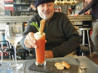 Stewart at our favourite Les Cornichons restaurant - this is not a drink but the best tasting Gazpacho.