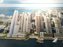 A model of Barangaroo, Sydney, a controversial development site which needs big lobbying to stop James Packer build his mega-tower come casino.