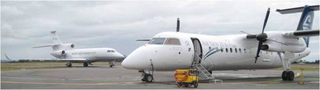 Inside the tiny Dash 8, the problem was getting off it. They used a fork-lift device!