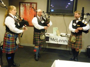 Far right: Ruairidh MacLennan of MacLennan and fellow pipers of the Sydney branch of the Clan MacLennan.