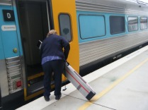 A manual ramp was put into place for the Canberra-Goulburn-Sydney train.