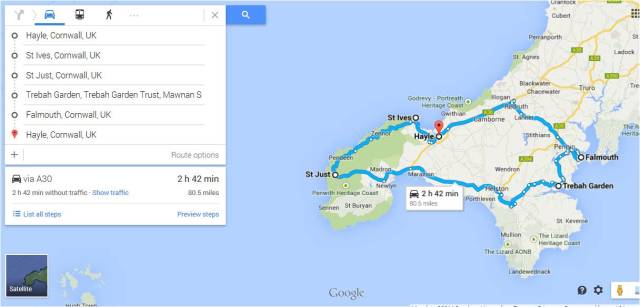 Google map showing our travels in the far west of Cornwall.