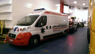 Lucien's ambulance with the taxi tucked in behind (as always) on the ferry to Dover.