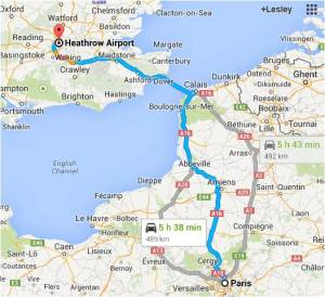 Map Paris to Heathrow