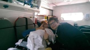 Stewart and Lesley on board the ambulance ready for the nine hour trip to the airport.