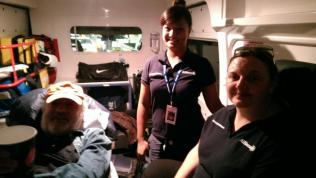 Stewart in the ambulance with Czarina and Melinda, our fabulous Australian nurses.