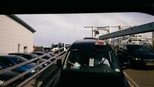 Leave the ferry at Dover, our taxi is glued to the ambulance ready for take-off.